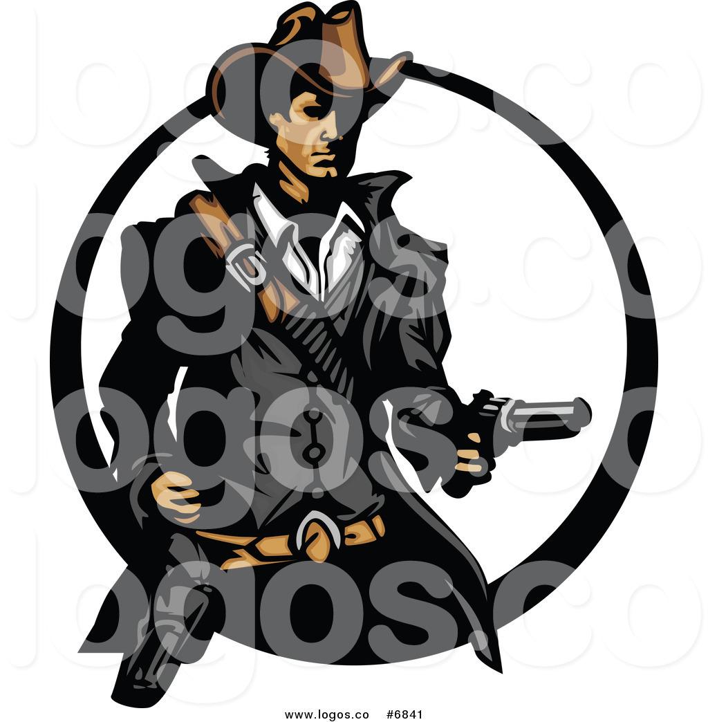 1024x1044 Royalty Free Clip Art Vector Logo Of A Cowboy Holding A Revolver