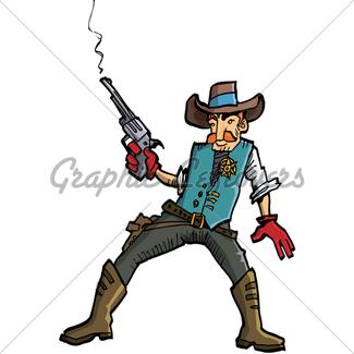 325x325 Cartoon Cowboy With A Gun Belt Gl Stock Images