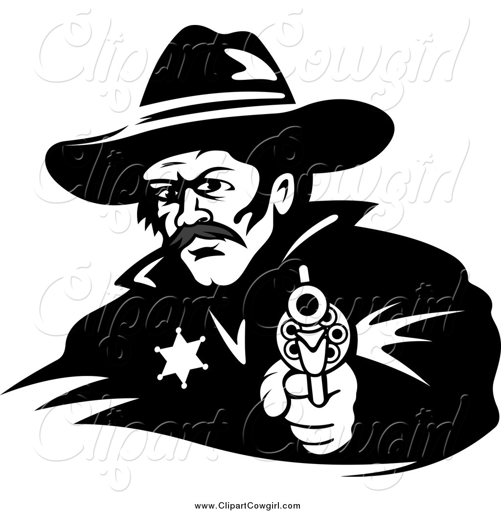 1024x1044 Clipart Of A Black And White Cowboy Sheriff Pointing A Gun By