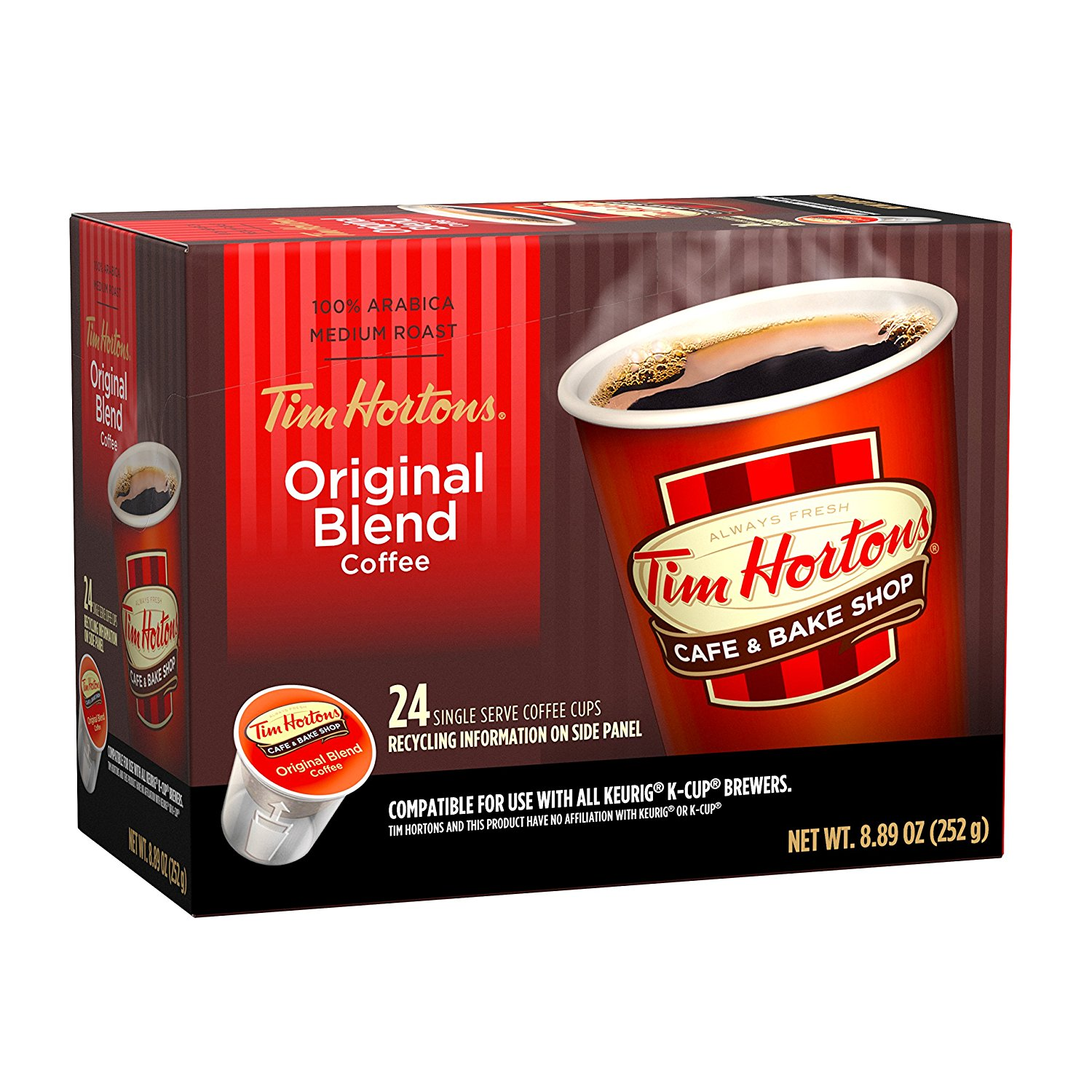 1500x1500 Tim Horton's Single Serve Coffee Cups, Original Blend, 24 Count