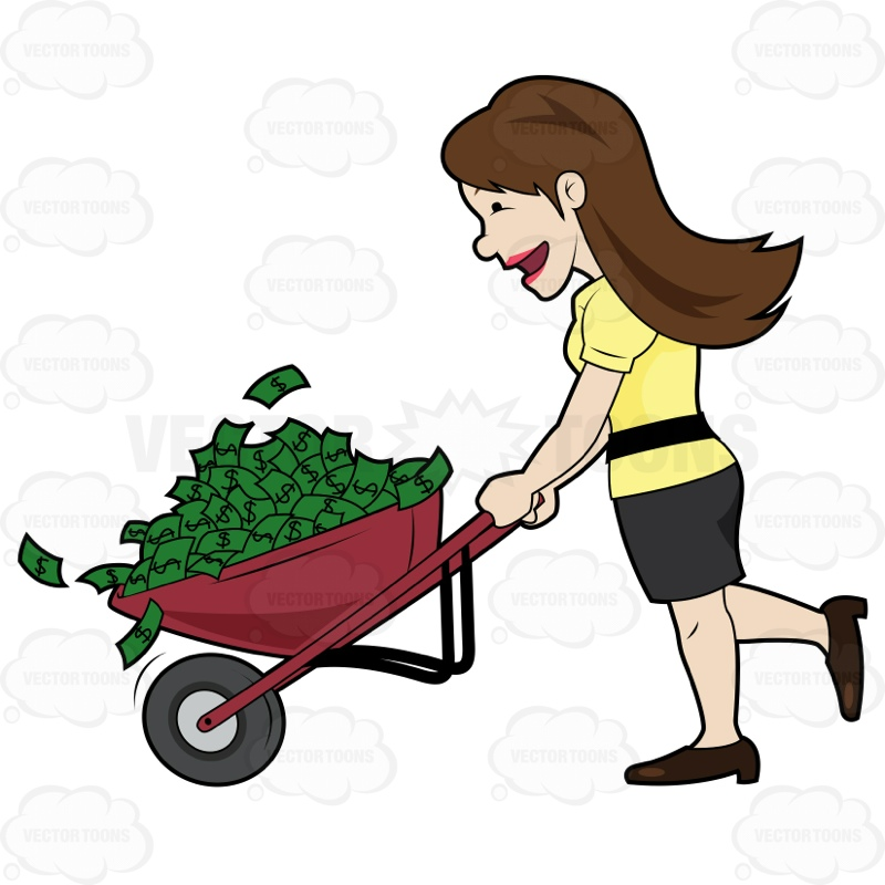 800x800 Happy Woman Holding A Wheel Barrow Full Of Cash Cartoon Clipart