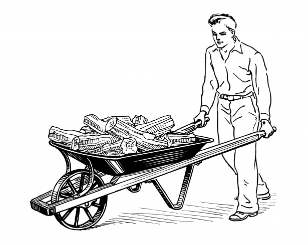 615x491 Man Pushing Wheelbarrow Clipart Free Stock Photo