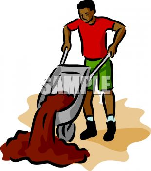 310x350 Royalty Free Clipart Image African American Man Dumping Dirt Out