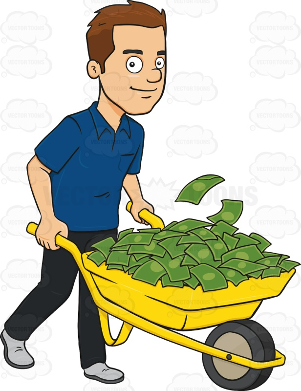 616x800 Smiling Man Holding A Wheel Barrow Full Of Cash Cartoon Clipart