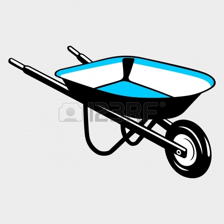 450x450 Vector Illustration Of Cartoon Worker With Wheelbarrow Royalty