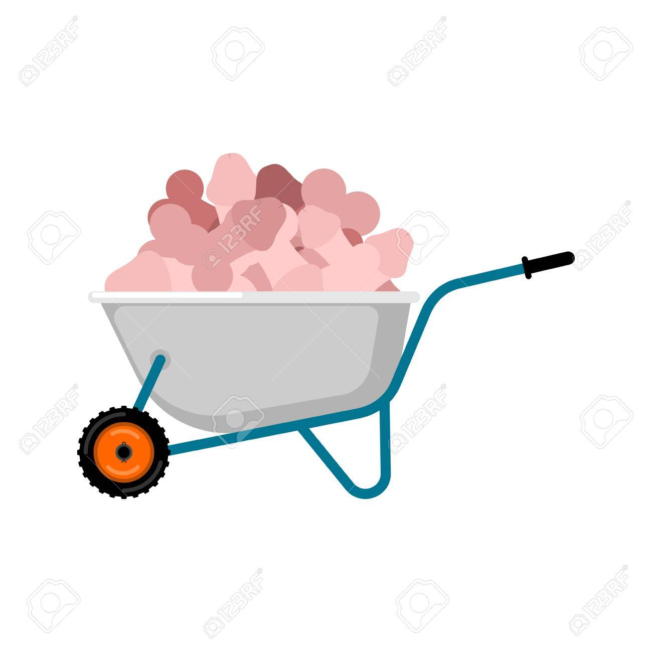 1300x1300 Wheelbarrow And Penis. Pile Dick In Garden Trolley. Vector