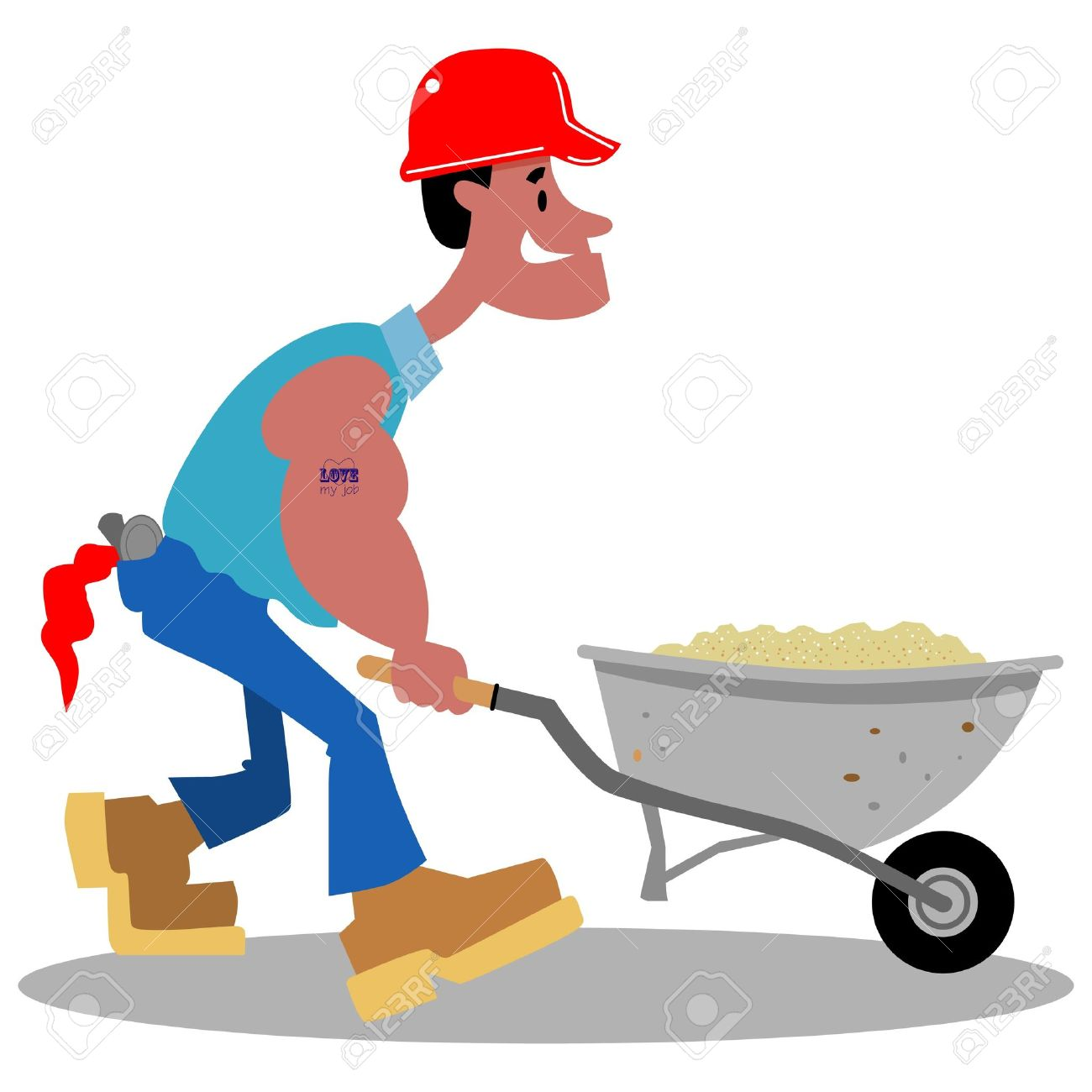 1300x1300 Cartoon Construction Worker Pushing A Wheelbarrow Of Sand Royalty