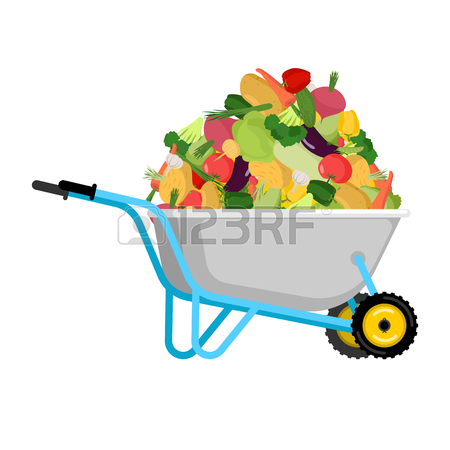 450x450 Wheelbarrow And Shit. Turd In Garden Trolley. Vector Illustration