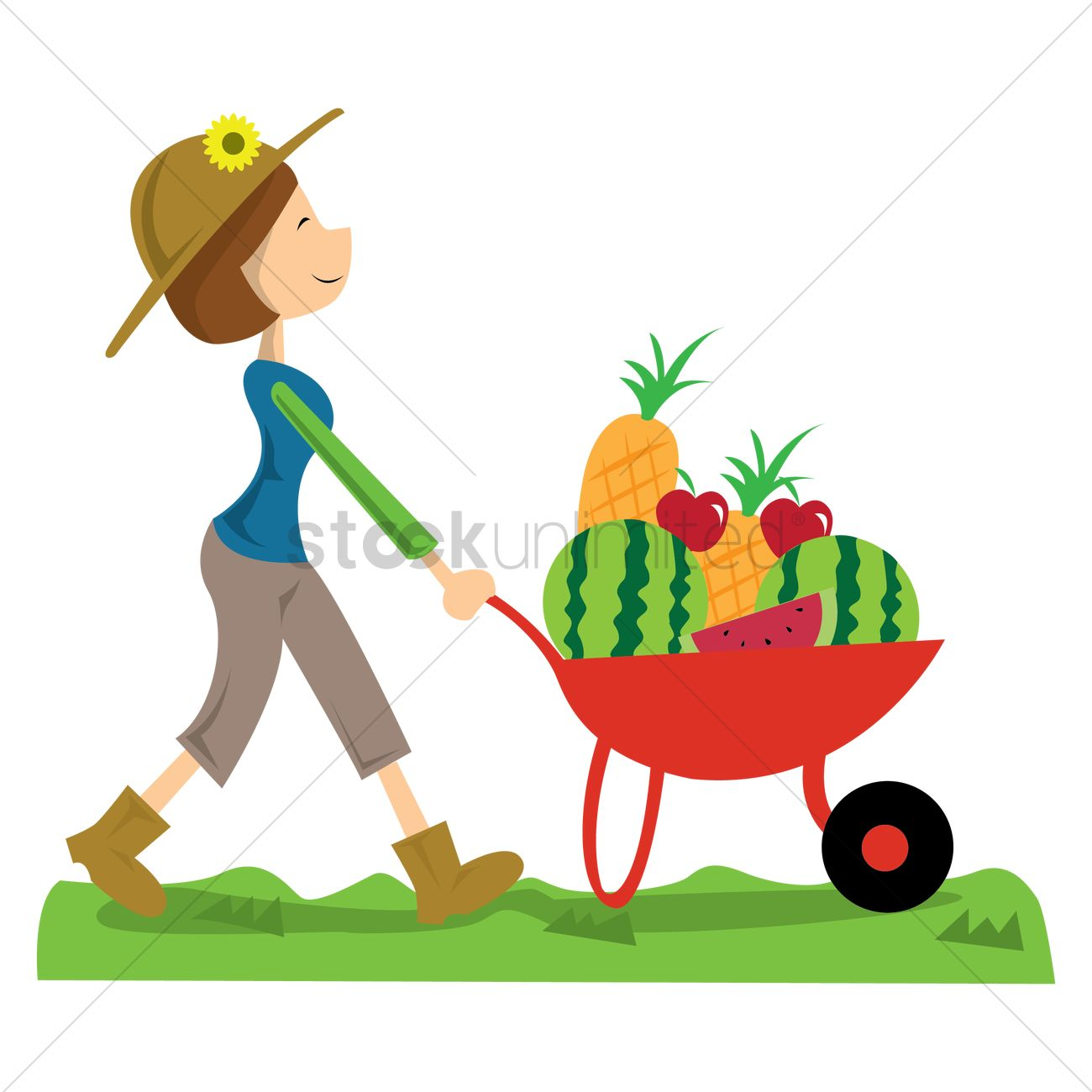 1300x1300 Woman Carrying Fruits And Vegetables In Wheelbarrow Vector Image