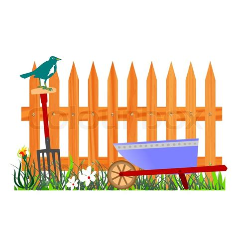 474x474 Wooden Fence And Wheelbarrow Garden Vector Stock, Wood Landscape
