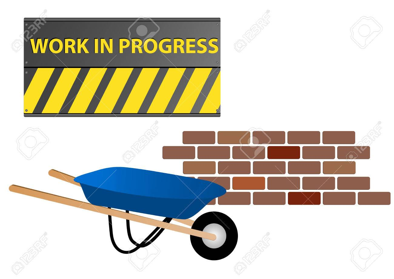 1300x920 Work In Progress Site With Wheelbarrow And Wall Royalty Free
