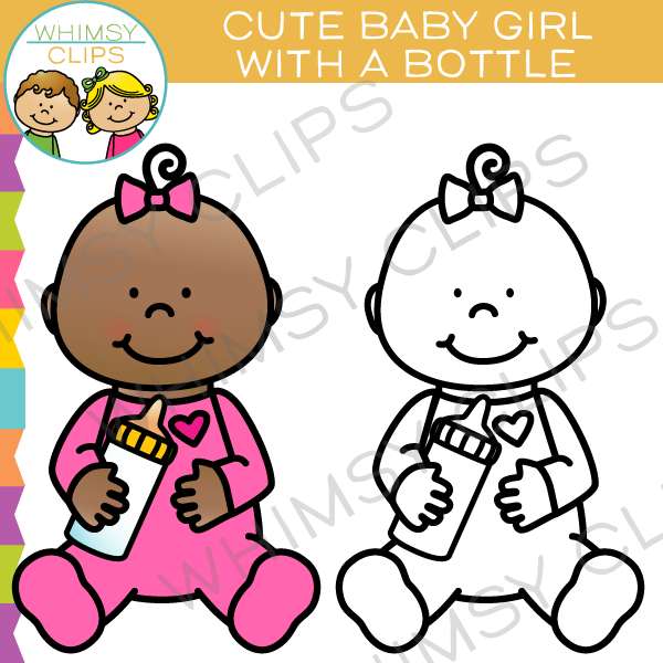 600x600 Cute Baby Girl With A Bottle Clip Art , Images Amp Illustrations