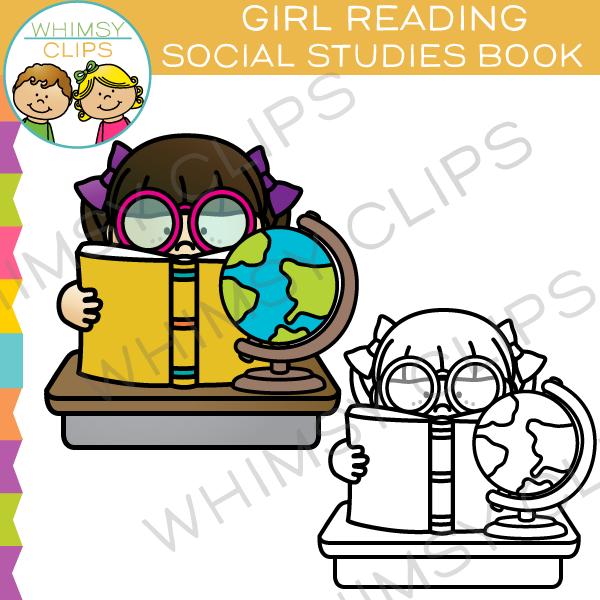 600x600 Girl Reading Social Studies Book Clip Art , Images Amp Illustrations
