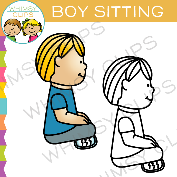 600x600 Boy Sitting Clip Art , Images Amp Illustrations Whimsy Clips
