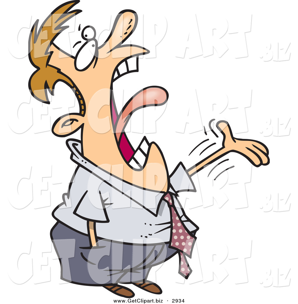 1024x1044 Clip Art Of A Man Complaining And Screaming To His Coworker By