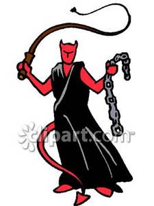 225x300 Devil With A Whip And Chains Royalty Free Clipart Picture