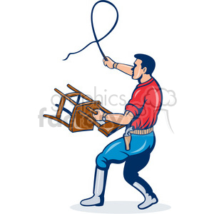 300x300 Royalty Free Man Holding Chair With A Whip 388389 Vector Clip Art