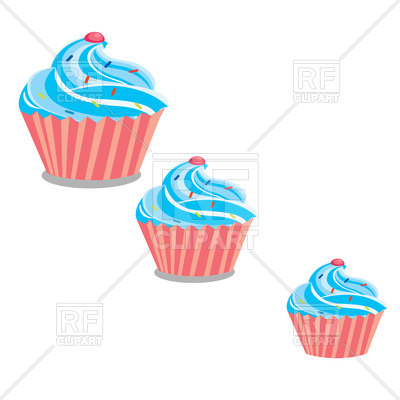 400x400 Pink Cupcake With Blue Whipped Cream Royalty Free Vector Clip Art