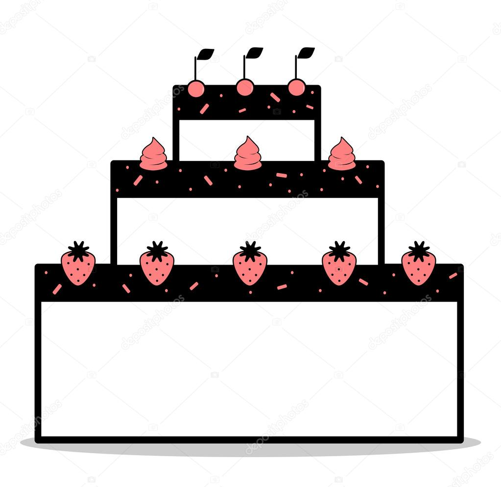 1023x996 Abstract Cartoon Black White Pink Cake With Strawberries Cherries