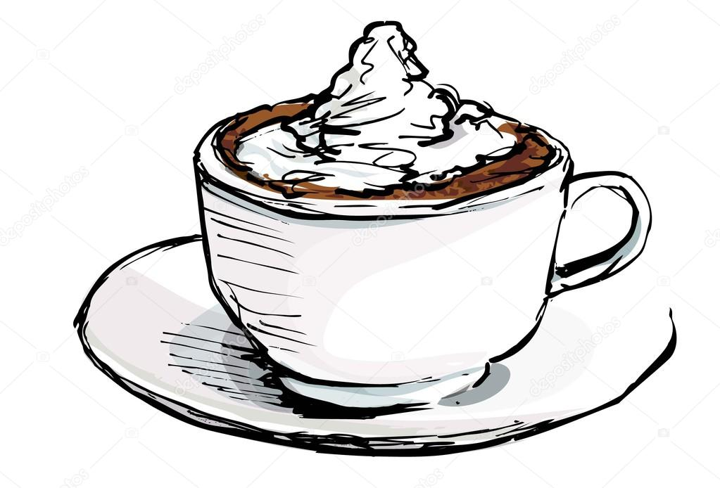 1023x694 Cartoon Of Cup Of Coffee With Cream Stock Vector Antonbrand