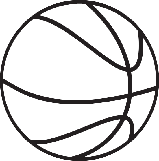 550x555 Black White Basketball Clipart Free