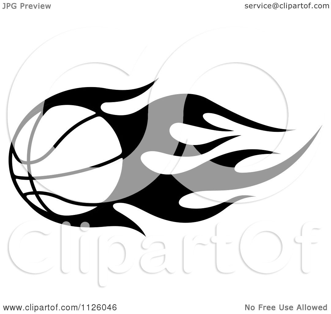 1080x1024 Clipart Of A Black And White Tribal Flaming Basketball 4