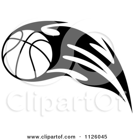 450x470 Clipart Of A Black And White Tribal Flaming Basketball 6