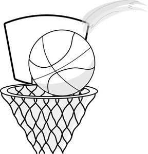288x300 Free Black And White Basketball Clipart