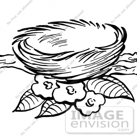 450x450 Clipart Of A Bird Nest And Blossoms On A Branch In Black And White