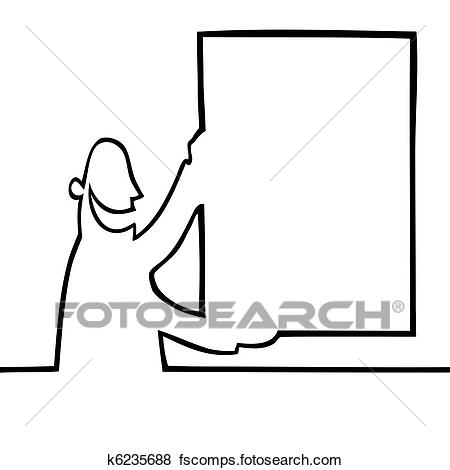 450x470 Clip Art Of Man Holding A Bulletin Board K6235688