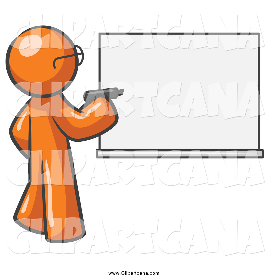 1024x1044 Clip Art Of An Orange Man Writing On An Office White Board By Leo