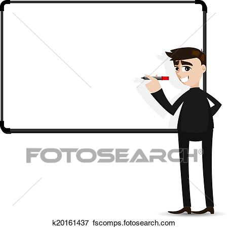 450x450 Clip Art Of Cartoon Businessman Writing Whiteboard K20161437