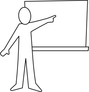 291x298 Teacher Pointing At Board Outline Clip Art