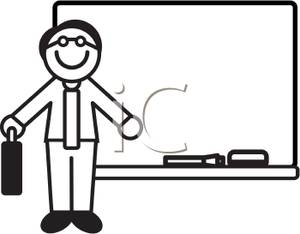 300x234 Black And White Cartoon Of A Teacher At A Whiteboard
