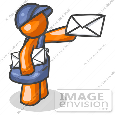450x450 Clip Art Graphic Of An Orange Guy Character Mailman In Blue