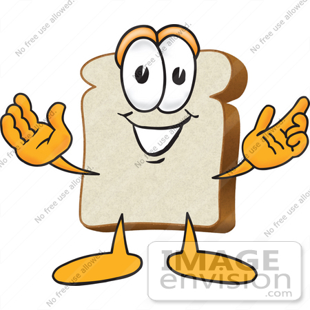 450x450 Clip Art Graphic Of A White Bread Slice Mascot Character Greeting