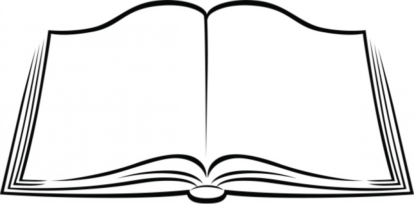 820x405 Open Book Clipart In Black And White