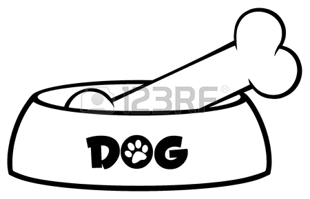 450x290 Dog Bone Cartoon Simple Drawing Design With Ribbon And Bow