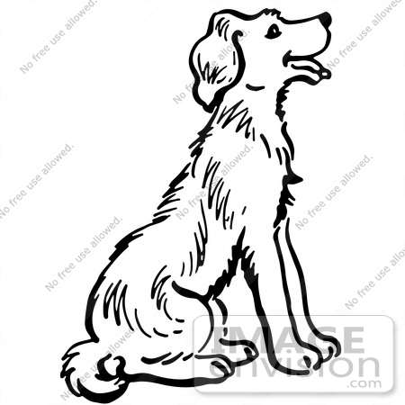 450x450 Clipart Of A Happy Sitting Dog In Black And White