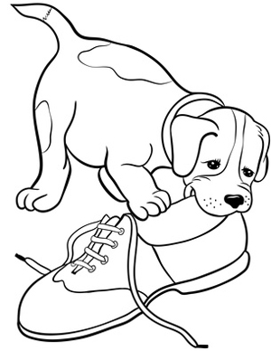 300x388 Puppy Dog Chewing On Shoe Clipart