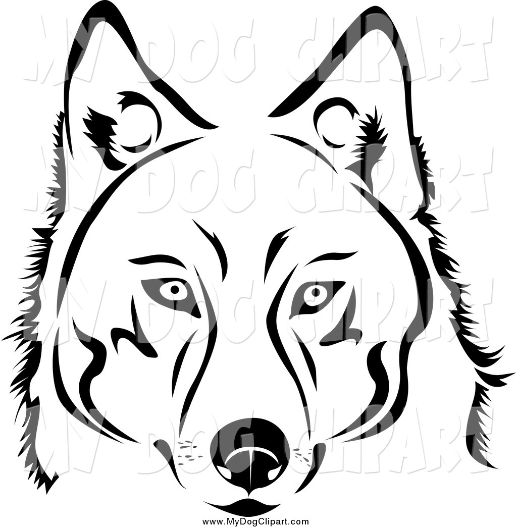 1024x1044 Clip Art Of A Black And White Husky Dog By Vector Tradition Sm