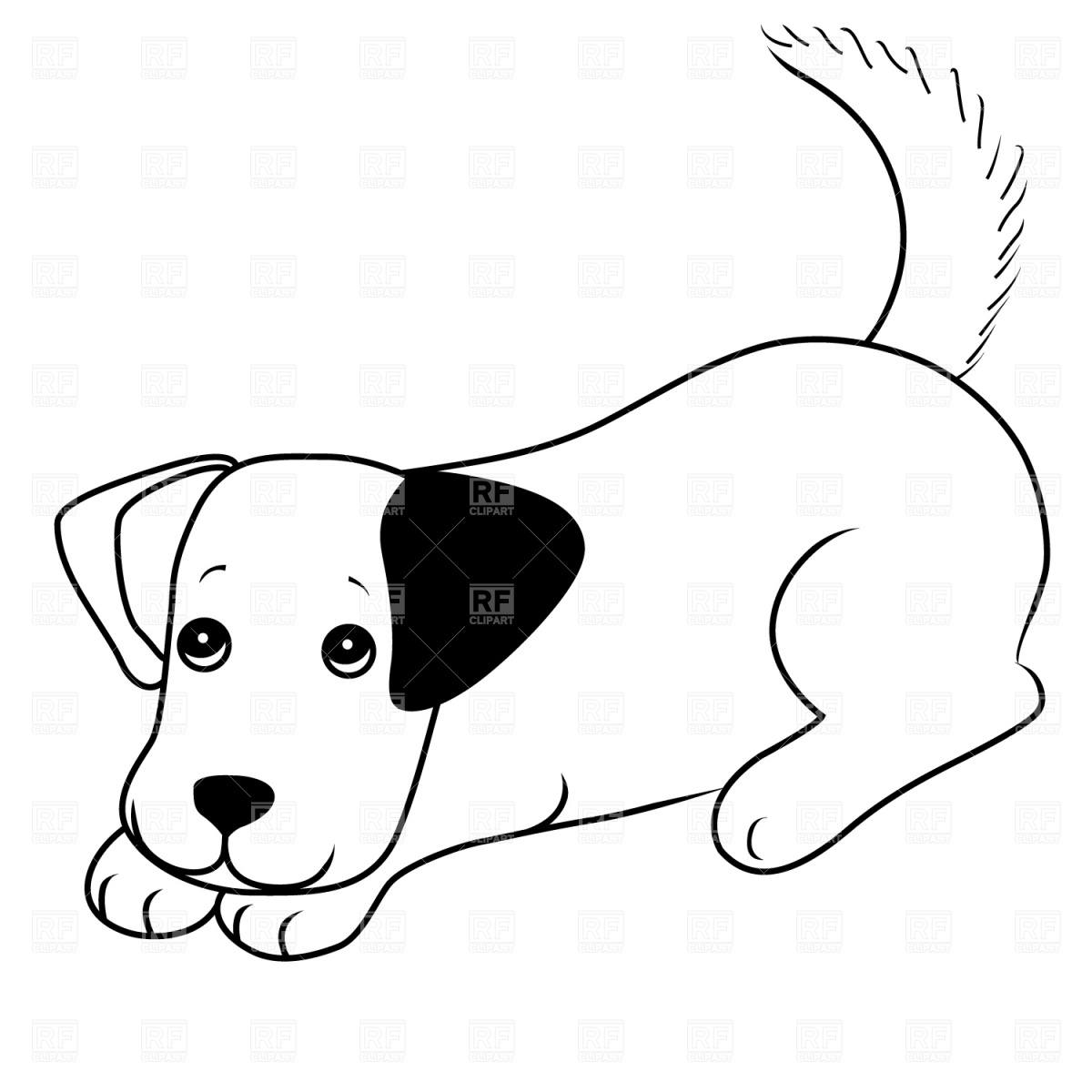1200x1200 Puppy Dog Black And White Clipart