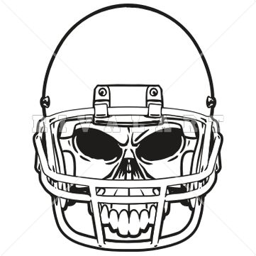 361x361 Sports Clipart Image Of Black White Football Skull Helmet Graphic