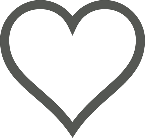 500x478 White Heart With Thick Brown Border Vector Clip Art Public