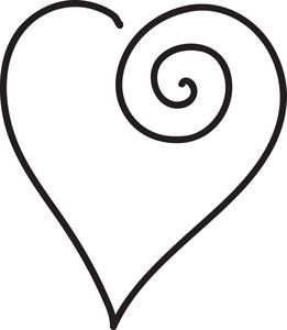 261x300 Clip Art Black And White Scrolled Heart Clipart Image