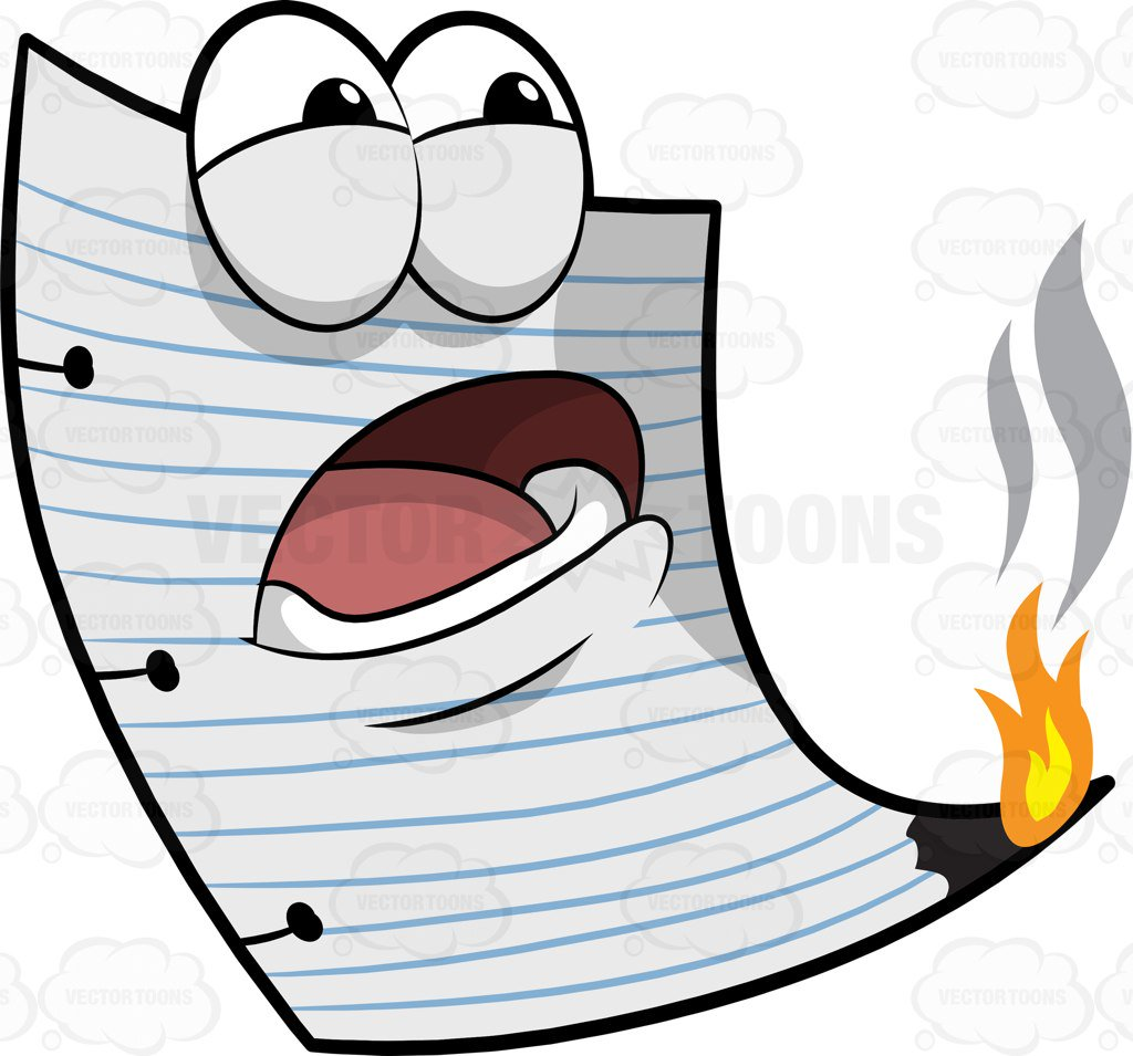 1024x955 A Burning White Pad In Panic Cartoon Clipart