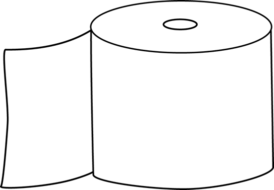 550x382 Black and White Toilet Paper Clip Art