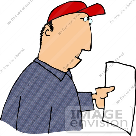 450x450 Caucasian Man Holding a Blank Piece of White Paper Clipart