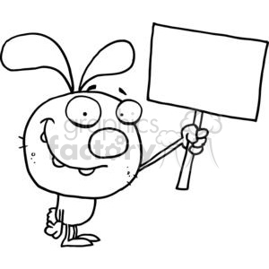 300x300 Royalty Free Black And White Rabbit Holds Blank Sign 377919 Vector