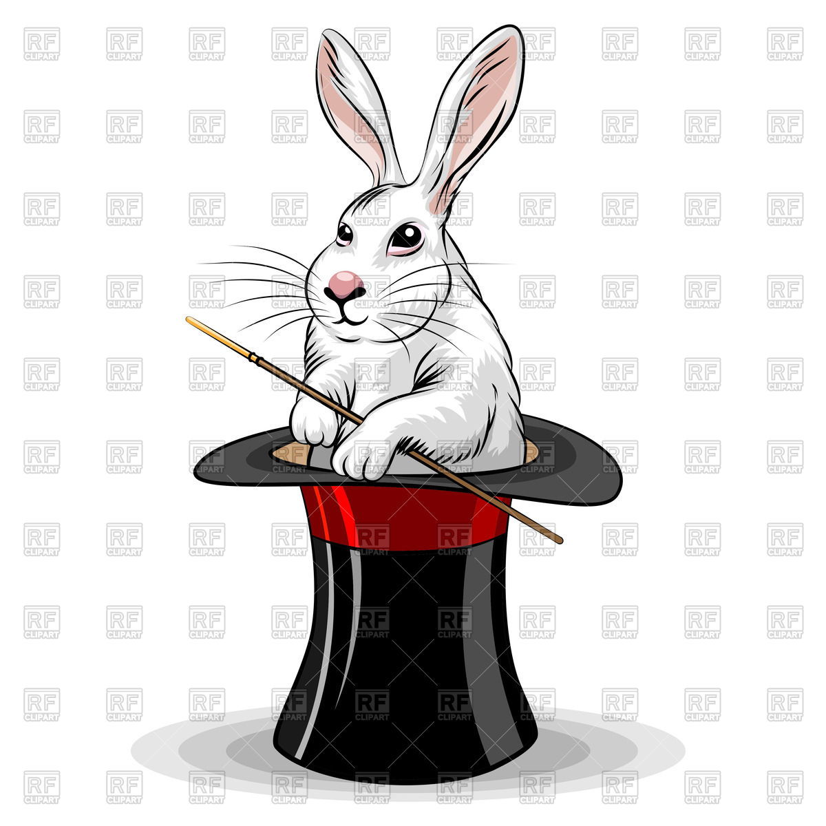 1200x1200 White Rabbit In Magic Top Hat Royalty Free Vector Clip Art Image